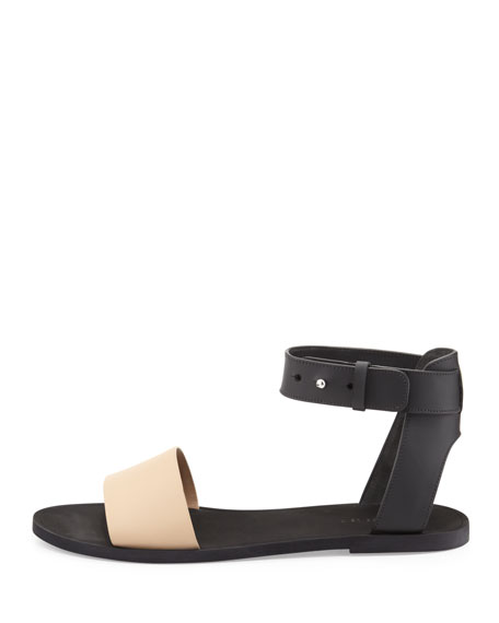 Vince Sawyer Flat Ankle Sandal, Cappuccino/Black