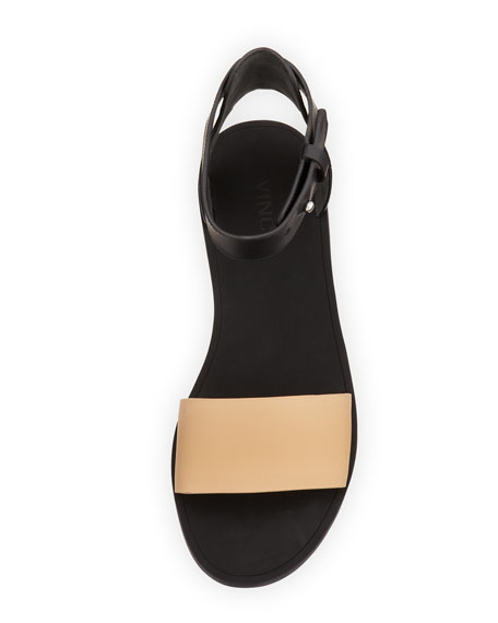 Sawyer Flat Ankle Sandal, Cappuccino/Black