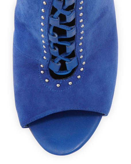Lamotte Buckled Lace-Up Sandal, Blue