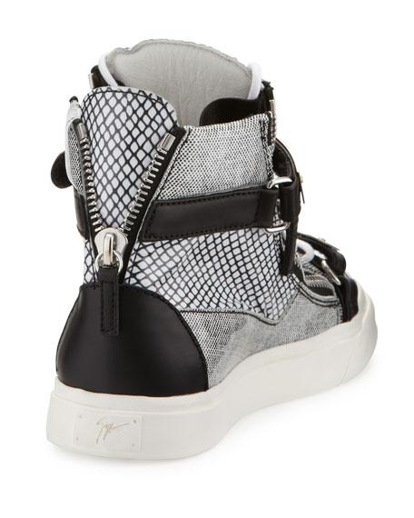 Printed Zip & Buckle High-Top Sneaker, Black/White