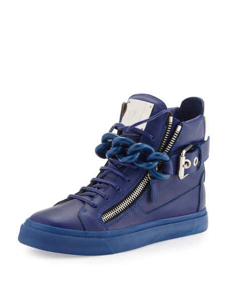 Chain & Zipper Leather High-Top, Praga Bluette