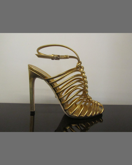 Strappy Knotted Metallic Sandal, Gold