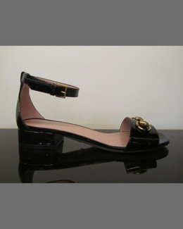 Gucci Horsebit Patent Leather Sandal, Black