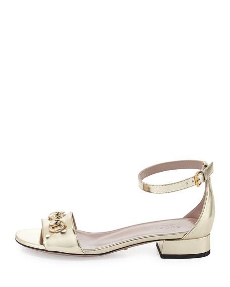 Metallic Calfskin Horsebit Sandal, Gold