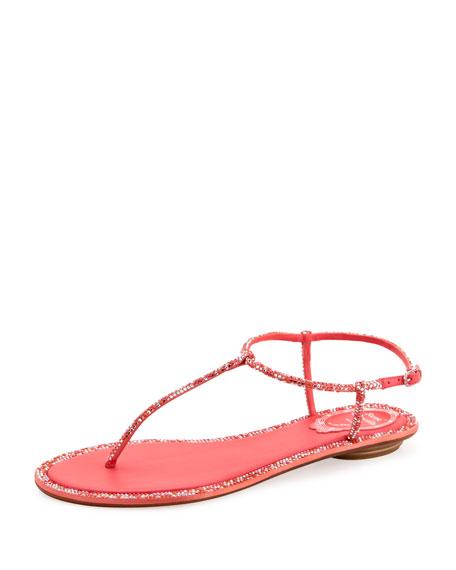 Crystal Flat Thong Sandal, Coral