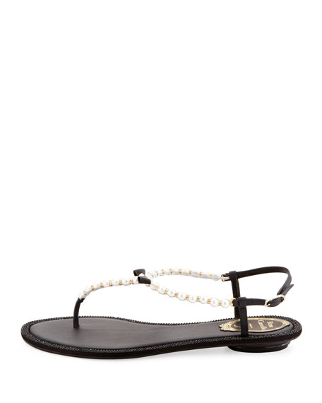 Pearly & Crystal Flat Thong Sandal, Black