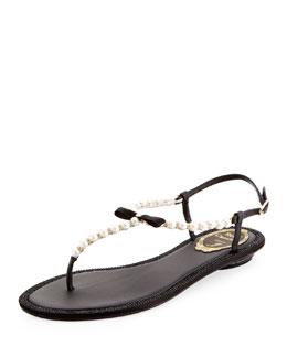 Rene Caovilla Pearly & Crystal Flat Thong Sandal, Black