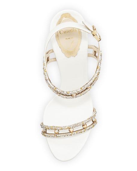 Crystal-Embellished Satin Sandal