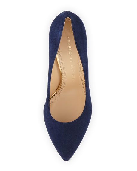 Debbie Suede Heart-Platform Pump, Navy
