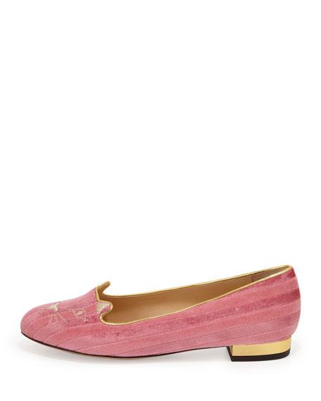 Kitty Striped Velvet Slipper, Candy Pink