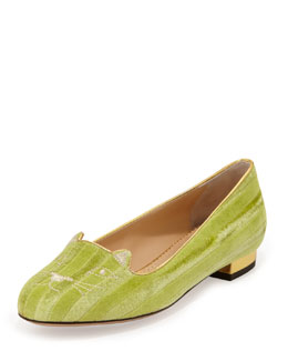Charlotte Olympia Kitty Striped Velvet Slipper, Light Green
