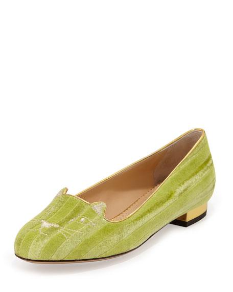 Kitty Striped Velvet Slipper, Light Green