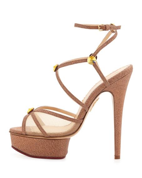 Charlotte Olympia Isadora Glitter Platform Sandal, Caramel
