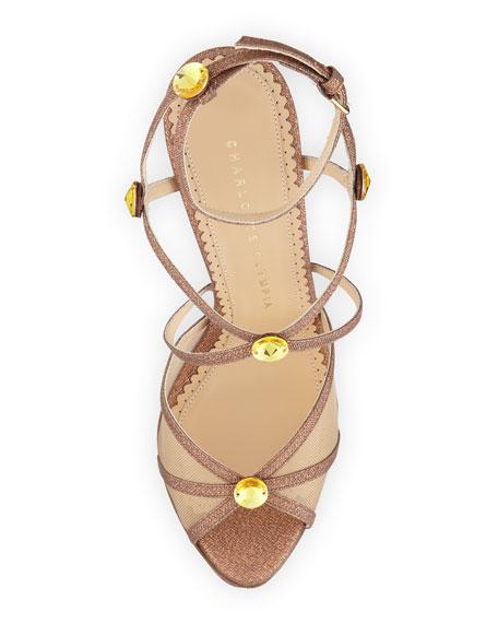 Isadora Glitter Platform Sandal, Caramel