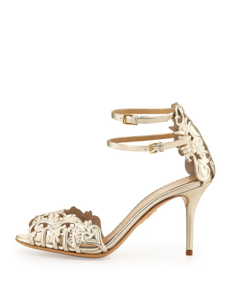 Margherita Metallic Ankle-Strap Sandal