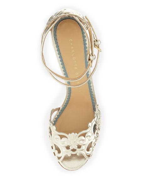 Margherita Metallic Ankle-Strap Sandal