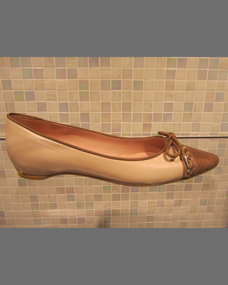 Capricorn Cap-Toe Bow Flat, Pan/Tan