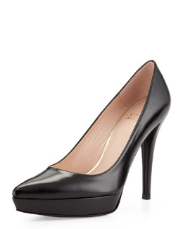 Stuart Weitzman Point Leather Platform Pump, Black