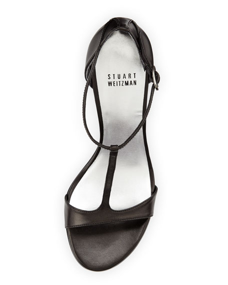 Sinful Leather T-Strap Sandal, Black