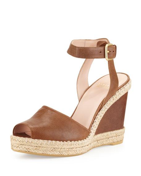 Waycool Leather Wedge Sandal, Toffee