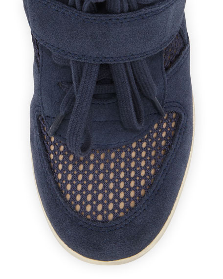 Bowie Mesh-Panel Wedge Sneaker, Navy