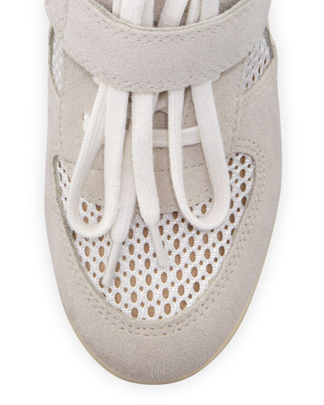 Bowie Mesh-Panel Wedge Sneaker, White