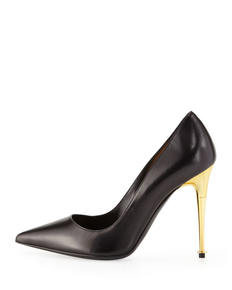 Leather Pointy-Toe Pump, Black/Gold