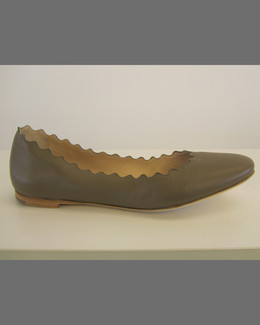 Chloe Scalloped Leather Ballerina Flat, Olive