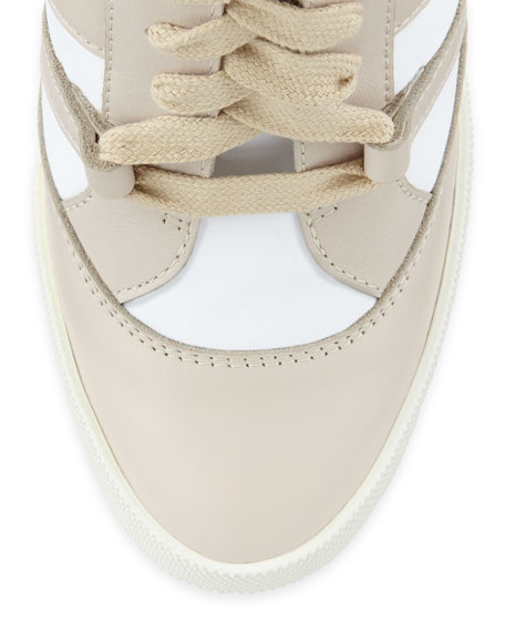 Quilted High-Top Wedge Sneaker, Neutral