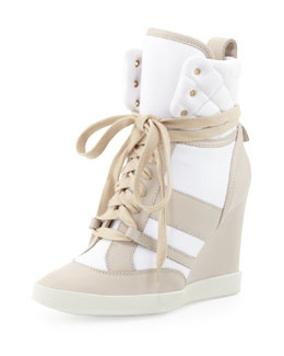 Chloe Quilted High-Top Wedge Sneaker, Neutral