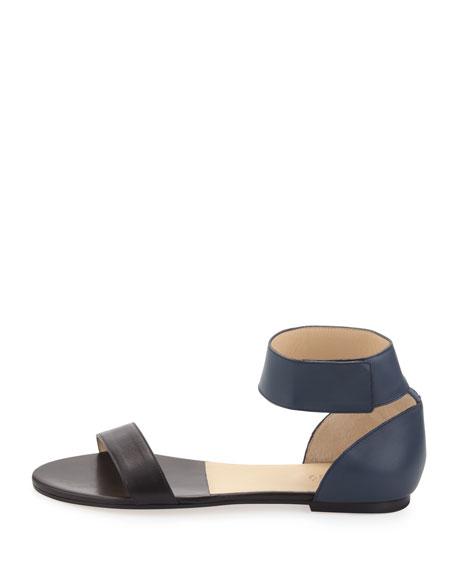 Two-Tone Flat Leather Sandal, Blue/Black