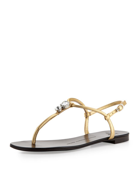 Jeweled Leather Thong Sandal, Gold