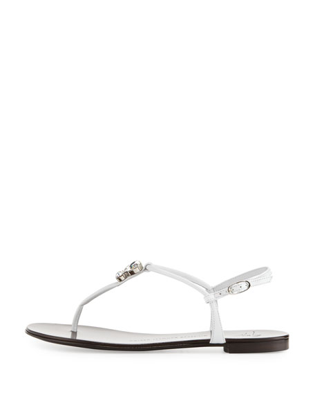 Jeweled Leather Thong Sandal, White