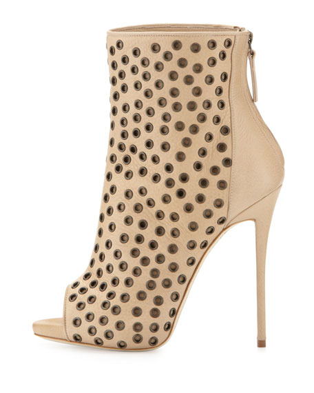 Leather Peep-Toe Grommet Bootie, Nude