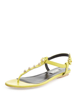 Balenciaga Golden Studded Thong Sandal, Yellow Green