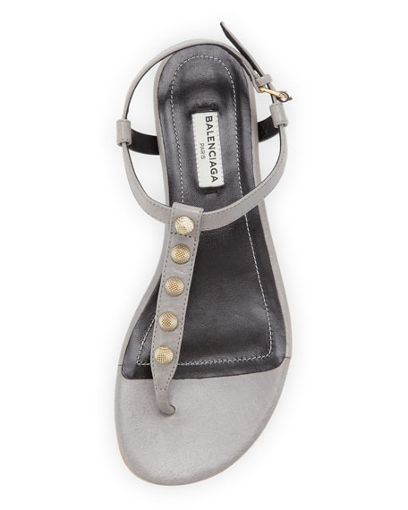 Golden Studded Thong Sandal, Gray