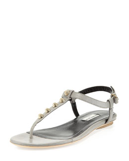 Balenciaga Golden Studded Thong Sandal, Gray