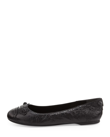 Arena Brogue Perforated Ballerina Flat, Black