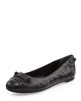 Balenciaga Arena Brogue Perforated Ballerina Flat, Black