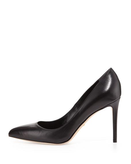 Leather Point-Toe Pump, Black