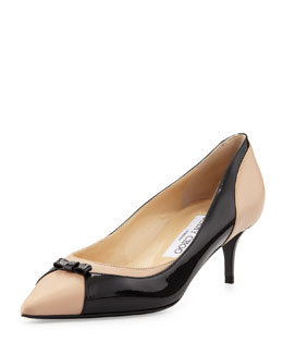 Jimmy Choo Iguana Pointy Combo Bow Pump, Black/Frappepat