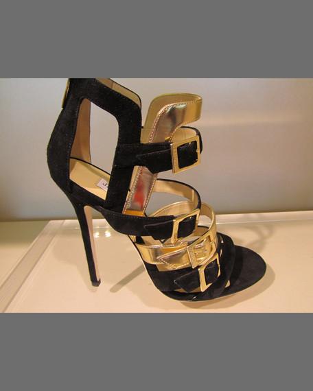 Bronx Buckled-Strap Sandal, Black/Gold