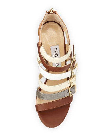 Bubble Buckled-Strap Sandal, Neutral