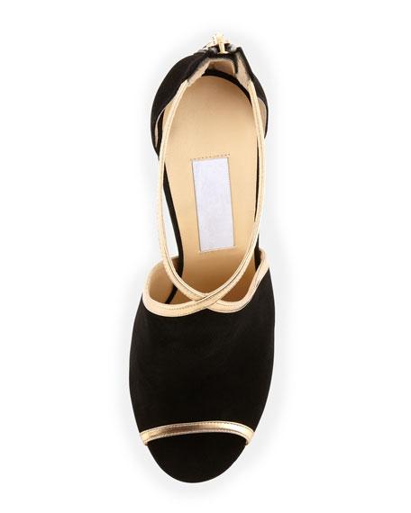 Farley Peep-Toe Suede Sandal, Black/Gold