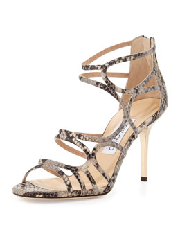 Jimmy Choo Summit Snake-Print Strappy Sandal