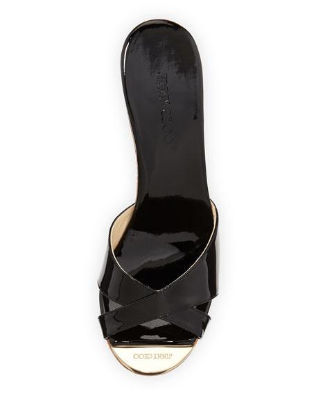 Perfume Cork Wedge Slide, Black