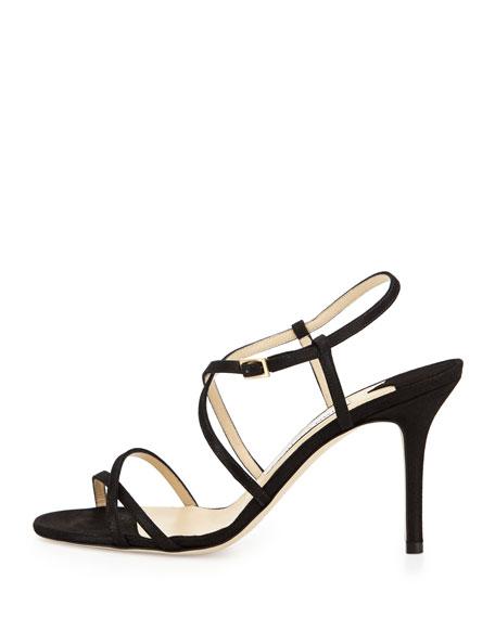 Elaine Suede Strappy Sandal, Black