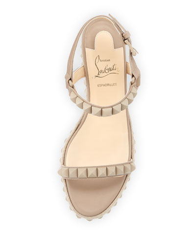 christian louboutin cataclou studded leather espadrille wedges ...