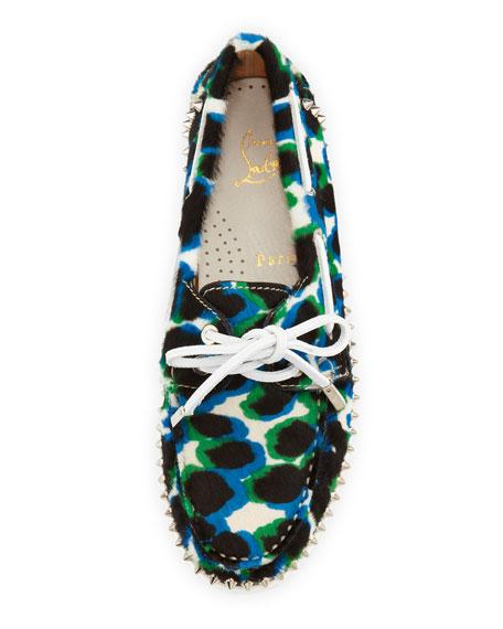 Steckel Spike-Midsole Calf Hair Boat Shoe, Blue