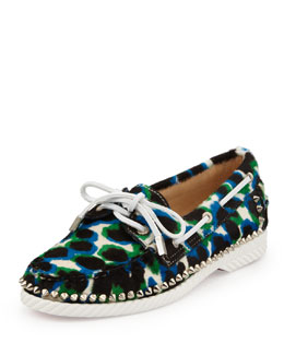 Christian Louboutin Steckel Spike-Midsole Calf Hair Boat Shoe, Blue